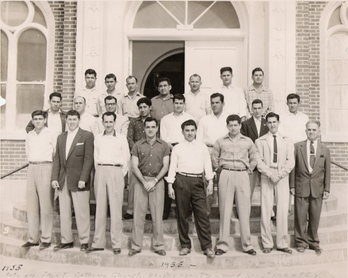 1955 reunion of Boy Scout Troop 20, started by my grandfather (front right).