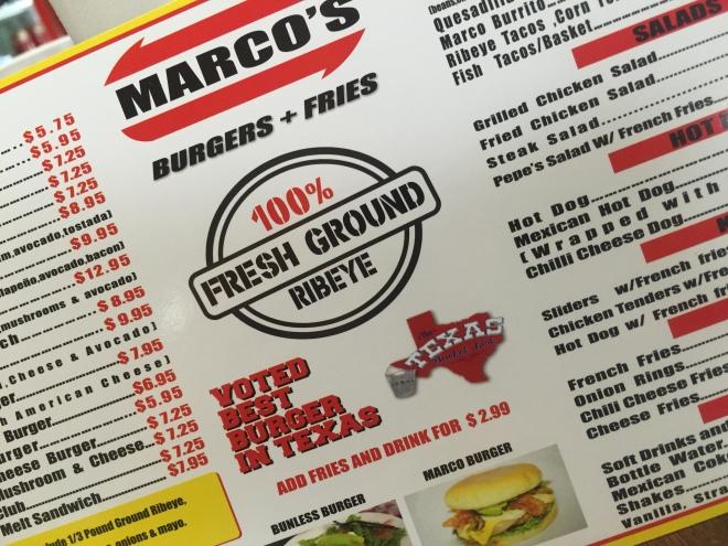 Marco's Menu