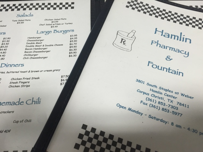 Hamlin Pharmacy Menu