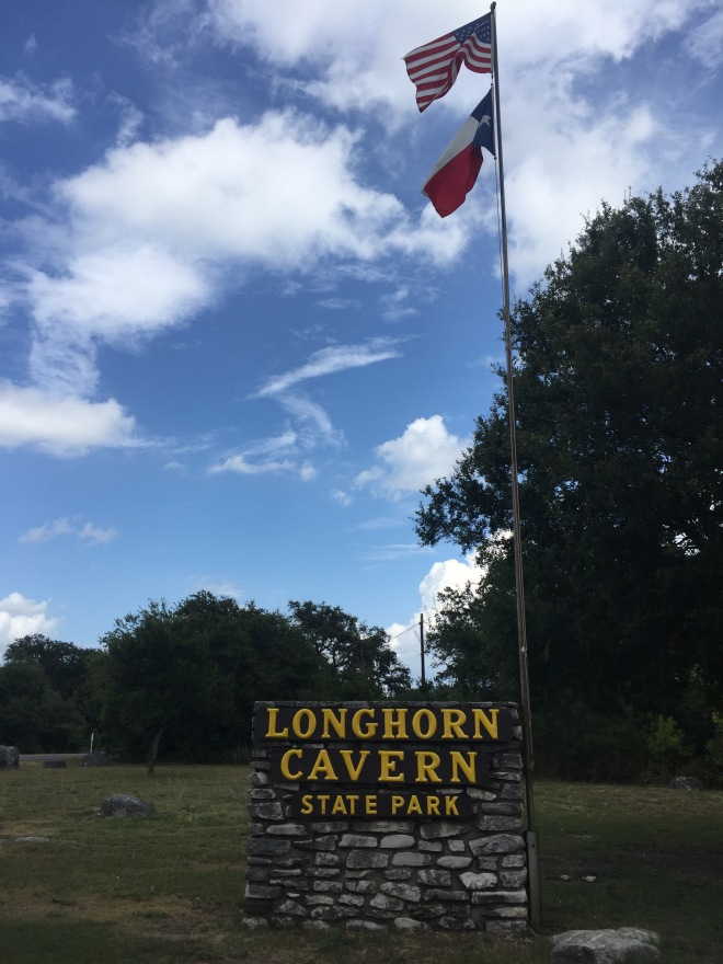 Longhorn Cavern Entry Sign